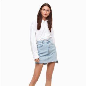 Aritzia Tanit High Low Denim Skirt